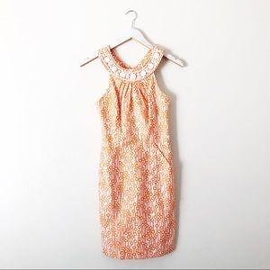 Milly Beaded Neckline Orange printed Dress